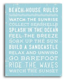 Another great find on #zulily! 'Beach House Rules' Print #zulilyfinds