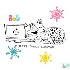 Doodle 172/365: Snow Leopard  #365doodleswithjohannafritz  When you are googling for reference material and all that comes up is the Apple's Software  by byjohannafritz