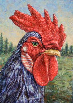 James W Johnson | ACRYLIC | Wild Blue Rooster