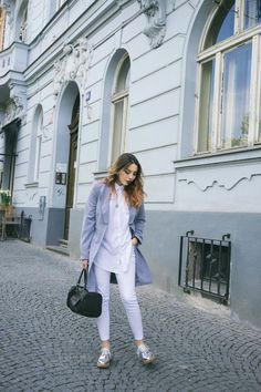 Silver shoes, longline blazer, and all white office attire. More style finds and tips at www.MARINSAYS.com