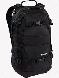 Burton Rider backpack I forget the actual name and size but it can easily hold a pair of boots inside and sits comfortably on the back while riding