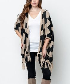 Look what I found on #zulily! Mocha Chevron & Fringe Open Cardigan by Caralase #zulilyfinds