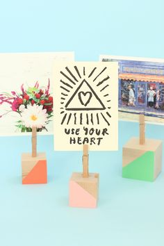 Natural wood blocks are an all time favorite crafting item! See how we use wood blocks to make a DIY Wood Block Photo Holder!