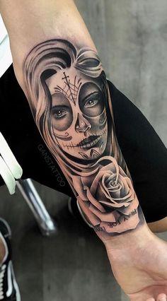80 Fotos de tatuagens masculinas no braço | TopTatuagens Skull Girl Tattoo, Girl Face Tattoo, P Tattoo, Inca Tattoo, Tattoo Drawings, Cute Tattoos, Leg Tattoos, Girl Tattoos, Tattoos For Guys