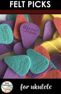 These felt ukulele picks are perfect for the elementary general music classroom!  They are made from a soft pressed felt and come in four bright colors – yellow, purple, red, and turquoise. #elmused #elementarymusic #ukulele #teachingukulele