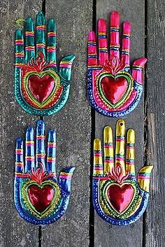 Mexican Tin Milagros Sold Seperately Hands Flaming Hearts Oaxaca Folk Art | eBay