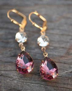 Plum Purple Earrings Bridal Jewelry Bridesmaids by NotOneSparrow