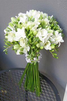 elegant white freesia wedding bouquet - brides of adelaide