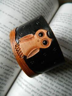 Leather Owl Cuff Bracelet  White Owl  Hand by CoastalMaineCreation, $35.00