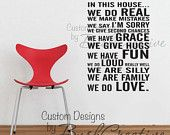 Wall Decal - Family Rules - we do LOUD really well :-)