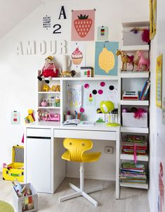 Storage space for small spaces- Stauraum für kleine Räume This is how you inspire children, u. with MICKE desk in white - Large Storage Units, Storage Spaces, Storage Ideas, Smart Storage, Storage Solutions, Girl Room, Girls Bedroom, Bedrooms, Ikea Micke