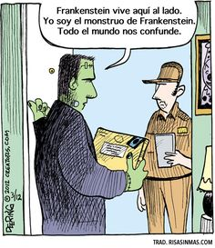 Yo soy el monstruo de Frankenstein. Viñeta por John Deering.