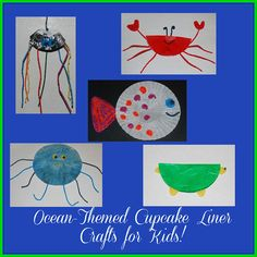 Ocean Animal Cupcake Liner Crafts for Kids!