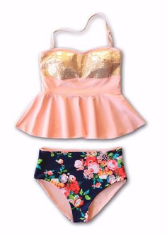 dff53280c4ee3 Holly Sequin Floral Peplum Tankini -  44. One Piece SwimsuitBathing ...