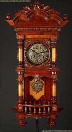 Impressive 1900 Kienzle German Wall Clock Citronella and Beech Wood