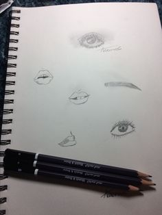 Eye, eyebrow, lip sketches