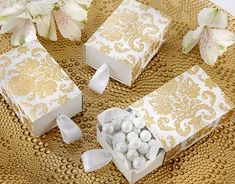 Treasures Gold Damask Favor Boxes - Your special day deserves the best. Find it in the form of these elegant treasures gold damask favor boxes. Candy Wedding Favors, Elegant Wedding Favors, Wedding Favor Boxes, Unique Wedding Favors, Bridal Shower Favors, Unique Weddings, Party Favors, Wedding Gifts, Favour Boxes