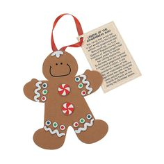 """Legend of the Gingerbread Man"" Christmas Ornament Craft Kit - OrientalTrading.com"