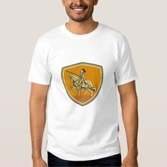 Knight Riding Steed Lance Shield Retro T-shirt. Illustration of knight in full armor with lance riding horse steed viewed from the side set inside shield crest done in retro style. #Illustration #KnightRidingSteedLance