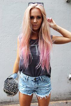 Blonde to pastel pink.