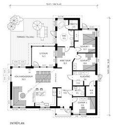 Villa Hammarö är ett vinkelhus i ett plan med pulpettak och fönsterdörrar som leder ut i trädgården. Se fler fakta, bilder och ritningar här! Sims 4 Houses, My House, House Plans, Villa, Floor Plans, Flooring, How To Plan, Architecture, Building