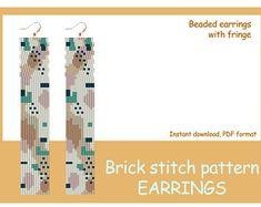 by LilibeadPatterns on Etsy Seed Bead Earrings, Beaded Earrings, Seed Beads, Animal Print Earrings, Brick Stitch, Abstract Print, Pattern Art, Beading Patterns, Stitch Patterns