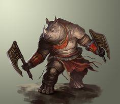Rhino Tribesman, Josh Corpuz on ArtStation at http://www.artstation.com/artwork/rhino-tribesman