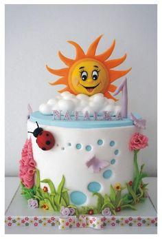 Sun - Cake von KoKo Source by birgit_voitel Fondant Cakes, Cupcake Cakes, Sun Cake, Sunshine Cake, Fantasy Cake, Baby Birthday Cakes, Spring Cake, Just Cakes, Girl Cakes