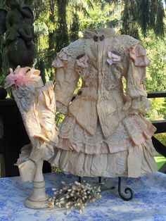 ~~~ Marvelous French Bebe Bustle Dress with Bonnet ~~~SOLD $695.00  10/20/14