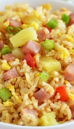 Packed With Ham, Peppers and Pineapple! It Adds a Slight Sweetness and Makes This Rice Heavenly! Packed With Ham, Peppers and Pineapple! It Adds a Slight Sweetness and Makes This Rice Heavenly! Rice Recipes, Asian Recipes, Dinner Recipes, Cooking Recipes, Recipes With Diced Ham, Potato Recipes, Casserole Recipes, Crockpot Recipes, Soup Recipes