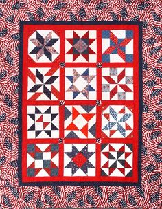 Patriotic All Stars Block of the Month Club (blocks coordinate with border print)
