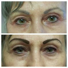 Tattoo eyebrows and top eyeliner Slightly dark but they will fade to a softer color when healed.  #lovemyjob #permanentmakeup  www.perfectioustatu.com