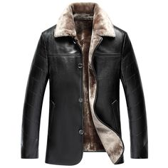 Fashion Men Winter Jacket Leather Coat Fur Fleece Jacket Trench Coat Hipster | eBay