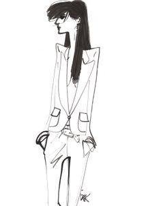 Fashion illustration - chic tailoring, fashion sketch // Izak Zenou