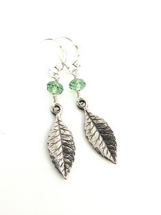 Silver Leaf Earring, Nature Jewelry, Silver Leaves, Zen Earring, Leaf Dangle, Botanical, Crystal Leaf, Woodland, Moss Green, Ernite