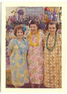 Vintage. Mumus & leis at Woolworths.