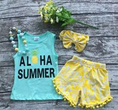 This includes top, shorts, and accessories! As always shipping is Free! Available in size 12 months,2,3,4,5,6,7, & 8. These outfits do run tts *** This is a pre order. Order will be placed on June 9. Pre-Orders will be taken through June 8 @ midnight. We do ask you allow 3 weeks from the time order is placed to receive. It will more than likely not take this long but it's better to be safe than sorry.