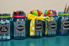Kindergarten Smiles: Jo-Ann Teacher Creativity Blog Hop. She bought the labels from Jo-Ann's Fabric and a six pack of blue mason jars added a bow - so cute!!!
