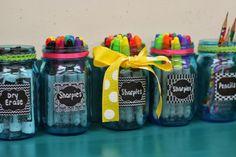 Mason jars for desk supplies