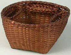 """Woven Canterbury Shaker sewing basket with three boats, unmarked, circa 1850, 8¼"""" diameter, $1,100.00."""