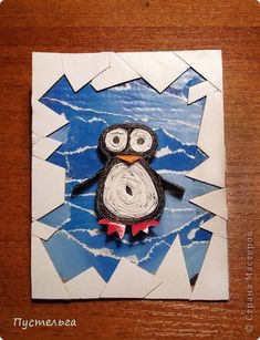 Pinguin collage the sharp icy boarder is cool, kids could use green for jungle and add a leafy border or add coral or seaweed like boarder for different creatures -oh even rocks and a dragon in the middle, lots of ideas collage paper craft mixed media Winter Art Projects, Winter Crafts For Kids, Art For Kids, Craft Projects, Kindergarten Art, Preschool Art, Art 2nd Grade, Winter Thema, Classe D'art