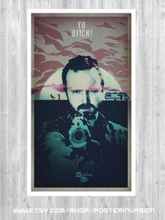 YO BITCH poster, YO Bitch print, Jesse Pickman poster, Breaking Bad Poster inspired by popular tv serie,breaking bad print, Minimalist print