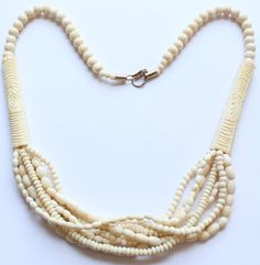 Antique Carved Bone Multi Strand Beaded Necklace by paststore on Etsy