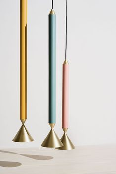 Colourful tubular pendant lights with brass detail, perfect for clustering Interior Design Process, Pendant Lighting, Brass, Ceiling Lights, Candles, Color, Inspiration, Detail, Furniture