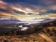 Evening closes in on the Flagstaff Viewpoint just outside Newry. It is one of the most breathtaking in Ireland or anywhere else. The view of the Mourne Mountains and Cooley Mountains sweeping down on Carlingford Lough.