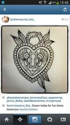 Heart padlock tattoo