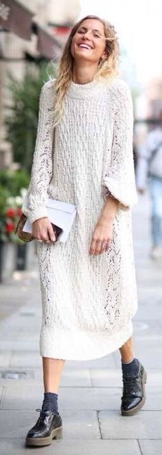 White Cable Knit Maxi Shirt Dress by They All Hate Us