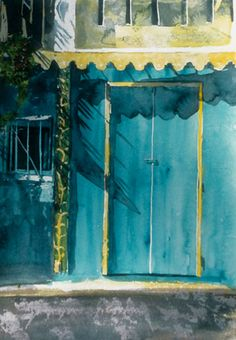 """ocean blues main st tortola 10"""" x 7"""" micheal zarowsky / watercolour on arches paper available $180.00"""