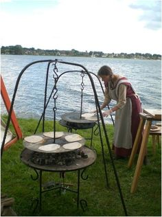 The Viking outdoor kitchen - love the raised cooking set up
