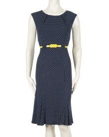 Mini Dot Print Cap Sleeve Sheath Dress - Connected Apparel presents a nostalgicly retro-inspired style in this mini dot print cap sleeve sheath dress. A stretch poly blend fabric, brightly hued belt at the waist and pleated neckline lend flattering feminine touches to the look.